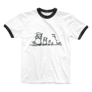 ペンギンおもしろTシャツ・魚ドロボー Ringer T-shirts