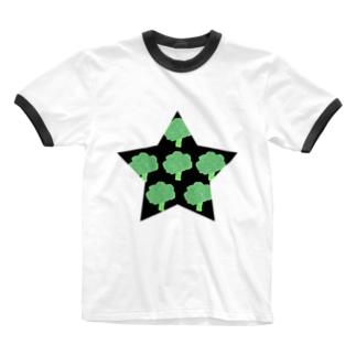 一番星(ブロッコリー) Ringer T-shirts