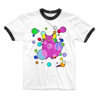 チンチラ シルエットドット Ringer T-shirts