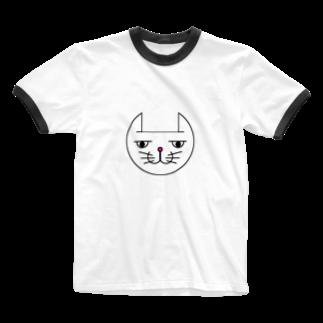 ヒロさんのグッズのネコだお(カラー) Ringer T-shirts