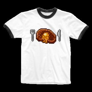 トンガリゴートのドット絵ヤキニク Ringer T-shirts