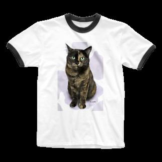 kinako-japanのサビ猫のキューちゃん Ringer T-shirts