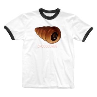 チョココロネ顔つき Ringer T-shirts