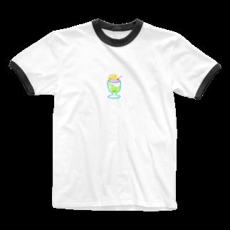 _ura2um_のクリームソダTシャツ(えりつき) Ringer T-shirts