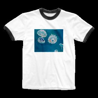 ✈オノウエ コウキの海月姫 Ringer T-shirts