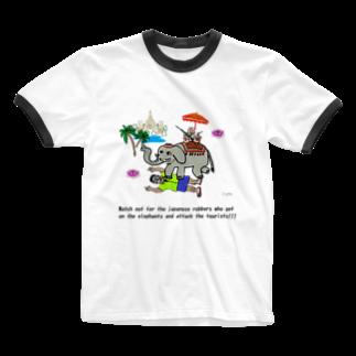 uwotomoの【THAILAND】象に乗った強盗 Ringer T-shirts