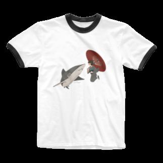 イラストレーター さかたようこのサメと出会うさめ子さん。 Ringer T-shirts