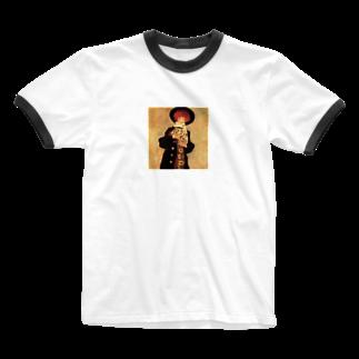Art Baseのエゴン・シーレ / 1909 / Woman with Black Hat / Egon Schiele Ringer T-shirts
