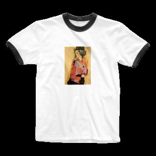 Art Baseのエゴン・シーレ / 1911 / The Daydreamer (Gerti Schiele) / Egon Schiele Ringer T-shirts