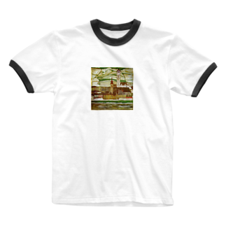 Art Baseのエゴン・シーレ / 1913 /Stein on the Danube, Seen from the South / Egon Schiele Ringer T-shirts