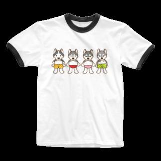 HUS×HUSのおパンツハスキー4 Ringer T-shirts