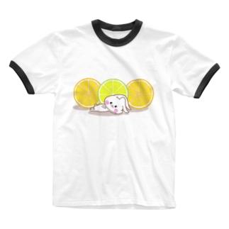 うさころと柑橘フルーツ Ringer T-shirts