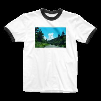 みみずさんのくまくも Ringer T-shirts