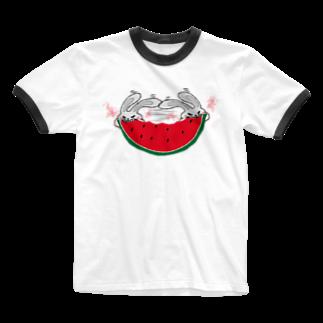 ひよこねこ ショップ 1号店のスイカの早食い Ringer T-shirts