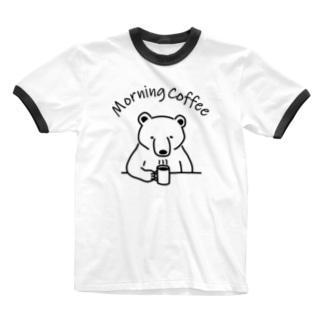 モーニングコーヒー クマ 熊 動物イラストアーチロゴ Ringer T-shirts