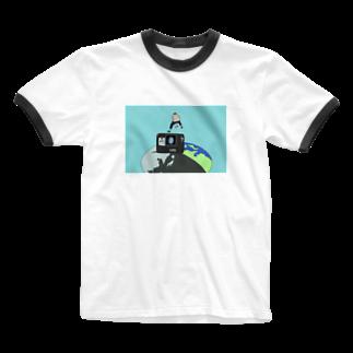 SHOP.もーちょの飛び出せ地球に Ringer T-shirts