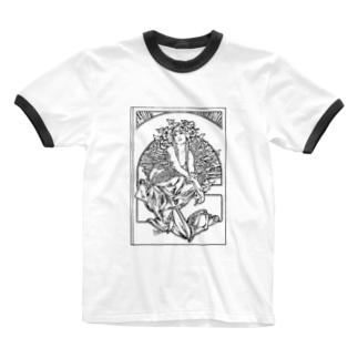 ミュシャ / 1897 /Coverage for the volume of grandmothers Songs / Alphonse Mucha Ringer T-shirts