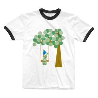 幸せの黄色いくま Ringer T-shirts