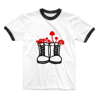 旅するきのこ Ringer T-shirts