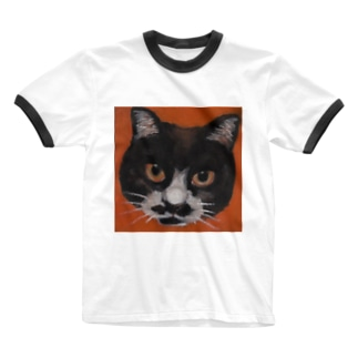 ハチワレ猫 「ハッチ」 Ringer T-shirts