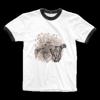どろーいんぐ屋の菌類の森 Ringer T-shirts