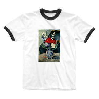 ポール・セザンヌ / 1874 /Still life, Delft vase with flowers / Paul Cezanne Ringer T-shirts