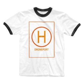 ドローンポートオレンジイエロー Ringer T-shirts