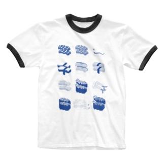 お寿司クン(一覧)青 Ringer T-shirts