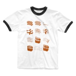 お寿司クン(一覧)赤 Ringer T-shirts