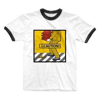 CAUTION-02 Ringer T-shirts