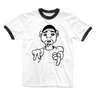「ねこおじさん、イエイ」 Ringer T-shirts