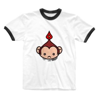 蝋燭猿のキスケ Ringer T-shirts