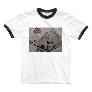 遊ぼうニャン Ringer T-shirts