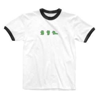 がつの動かないカエル(背景白) Ringer T-shirts