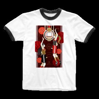 ねことりむし★CAT BIRD INSECTのBasketball girls(remake) Ringer T-shirts