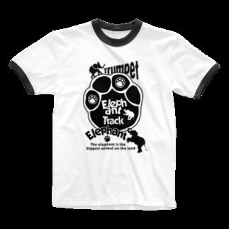 toshiyaのぞうさんの足跡 Ringer T-shirts