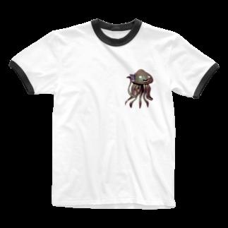 No.8のエイリアン通話中 Ringer T-shirts