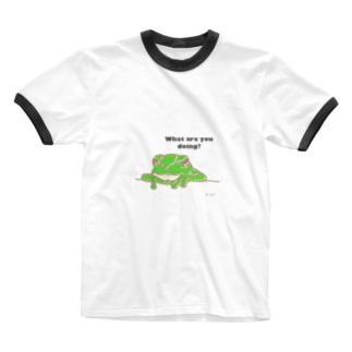 Cubのおえかきグッズ。のカエルくん Ringer T-shirts