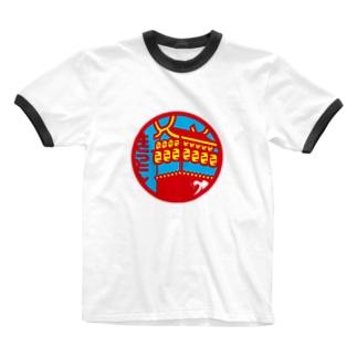 原田専門家のパ紋No.3404 きっとん  Ringer T-shirts