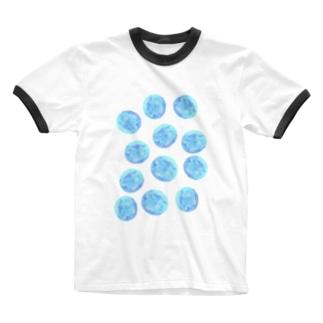 水草のブルー玉いっぱい Ringer T-shirts