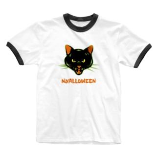 gemgemshopのニャロウィン Ringer T-shirts