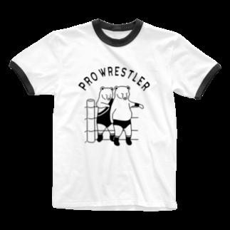 Aliviostaのプロレス タッグチーム 熊 動物イラスト Ringer T-shirts