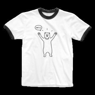 AliviostaのHello bear ハロークマ 熊 動物イラスト Ringer T-shirts