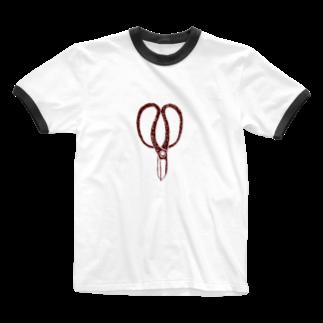 NIKORASU GOの植木職人専用デザイン「植木屋鋏」 Ringer T-shirts