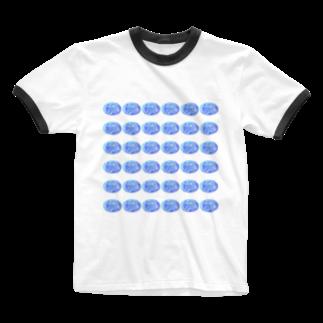 水草のスーパーブルー玉 Ringer T-shirts