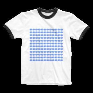 水草のハイパーブルー玉 Ringer T-shirts