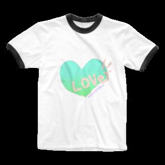 AURUMの爽やかLOVE Ringer T-shirts