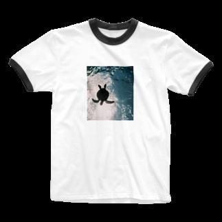 _O4muのウミガメ Ringer T-shirts