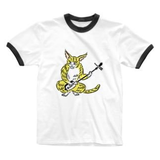 大津絵・猫に三味線 Ringer T-shirts