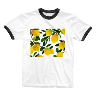 レモン Ringer T-shirts